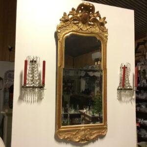 Rokoko spejl med orginal forgyldning og spejl