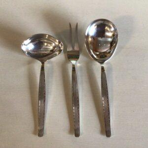 Capri Serveringsbestik Sovseske, Kartoffelske og Stegegaffel i sølvplet