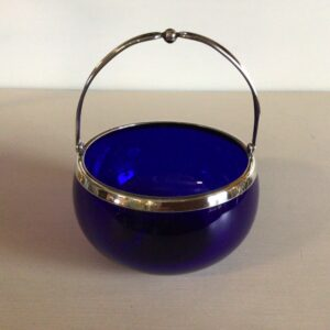 Blå Sukker i glas med sølvhank